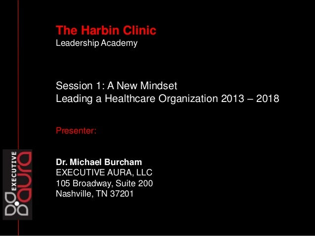 The Harbin Clinic Leadership Academy Session 1: A New Mindset Leading a Healthcare Organization 2013 – 2018 Presenter: Dr....