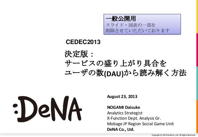 Copyright (C) 2013 DeNA Co.,Ltd. All Rights Reserved. 決定版: サービスの盛り上がり具合を ユーザの数(DAU)から読み解く方法 August 23, 2013 NOGAMI Daisuke...