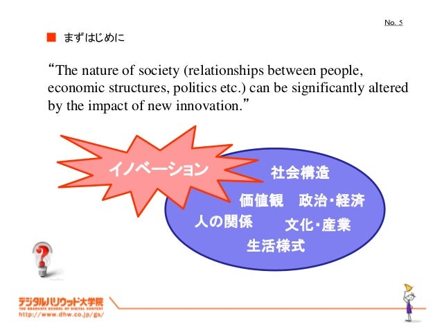 """No.5 まずはじめに■ """"The nature of society (relationships between people, economic structures, politics etc.) can be significantl..."""