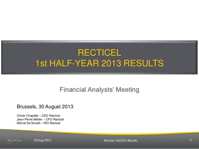 "RECTICEL 1st HALF-YEAR 2013 RESULTS Financial Analysts"" Meeting Brussels, 30 August 2013 Olivier Chapelle – CEO Recticel J..."