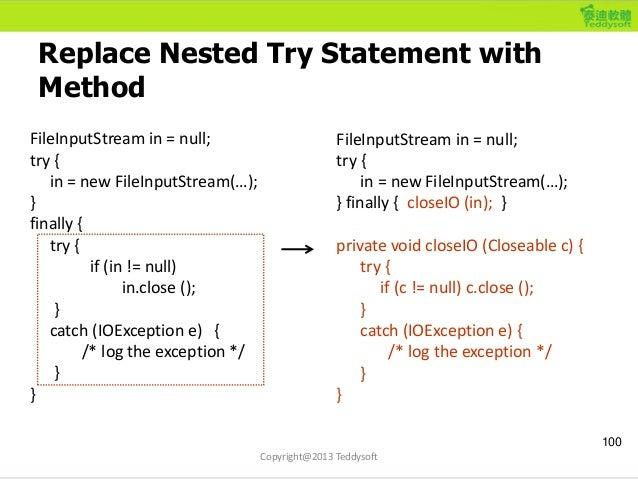 Replace Nested Try Statement with Method 100 FileInputStream in = null; try { in = new FileInputStream(…); } finally { try...