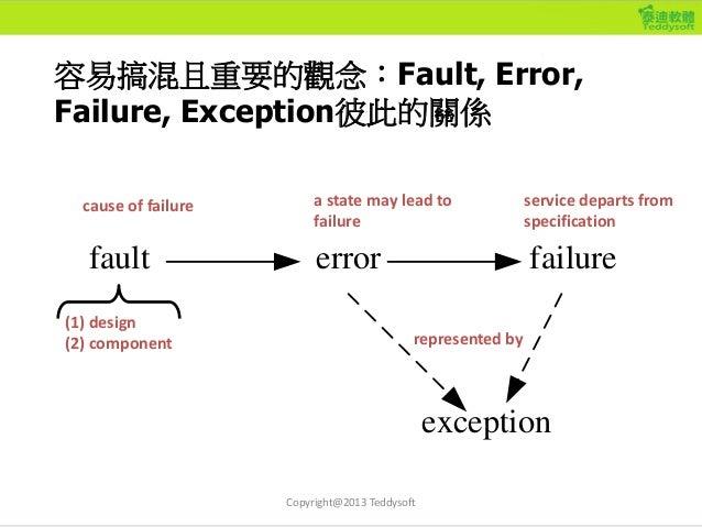 容易搞混且重要的觀念:Fault, Error, Failure, Exception彼此的關係 fault error failure exception (1) design (2) component cause of failure a...