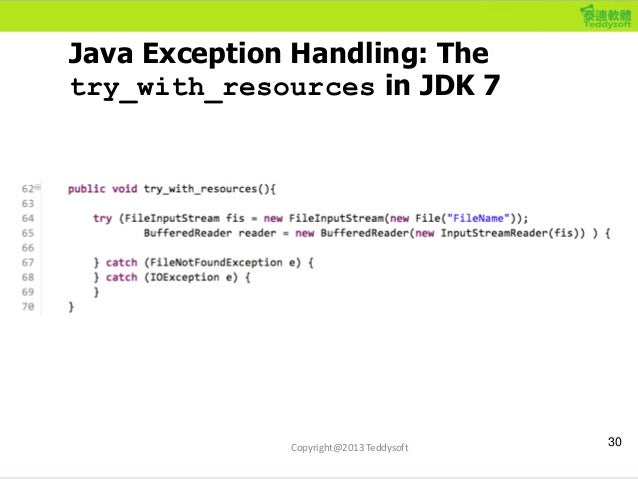 Java Exception Handling: The try_with_resources in JDK 7 30Copyright@2013 Teddysoft