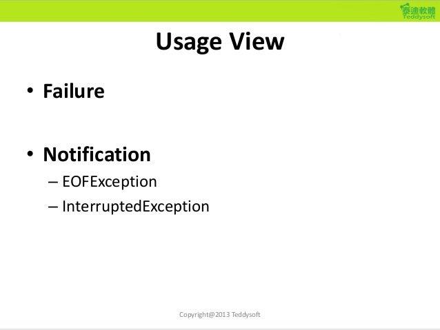 Usage View • Failure • Notification – EOFException – InterruptedException Copyright@2013 Teddysoft