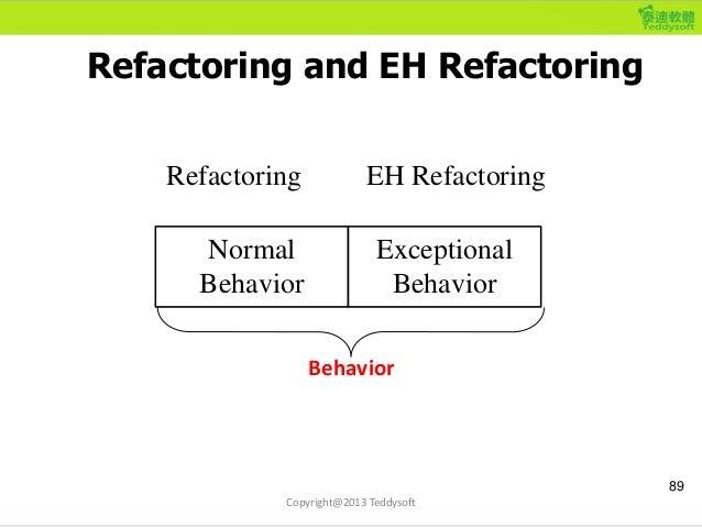 Refactoring and EH Refactoring 89 Normal Behavior Exceptional Behavior Refactoring EH Refactoring Behavior Copyright@2013 ...