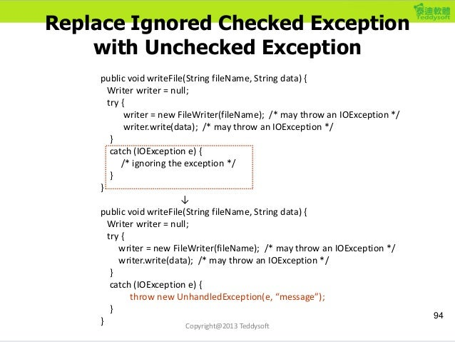 Replace Ignored Checked Exception with Unchecked Exception public void writeFile(String fileName, String data) { Writer wr...