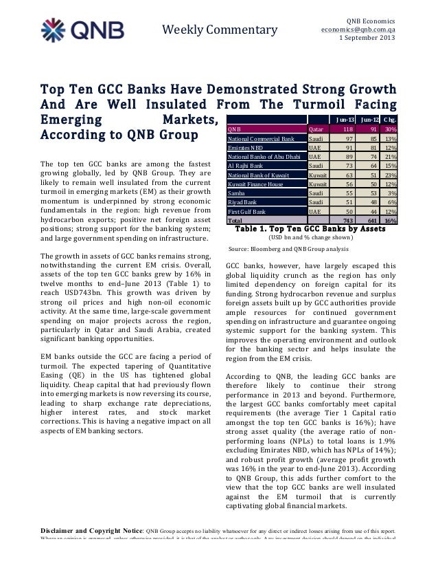 Weekly  Commentary   QNB  Economics   economics@qnb.com.qa   1  September  2013   Disclaimer and Copyright Notice: QNB G...