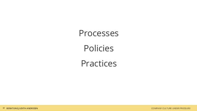 Processes Policies Practices COMPANY CULTURE UNDER PRESSUREBERATUNG JUDITH ANDRESEN18
