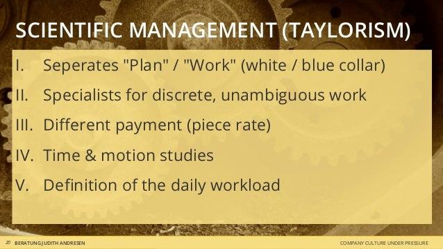 "COMPANY CULTURE UNDER PRESSUREBERATUNG JUDITH ANDRESEN20 SCIENTIFIC MANAGEMENT (TAYLORISM) I. Seperates ""Plan"" / ""Work"" (w..."