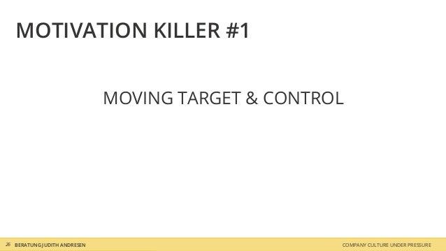 COMPANY CULTURE UNDER PRESSUREBERATUNG JUDITH ANDRESEN MOTIVATION KILLER #1 MOVING TARGET & CONTROL 26
