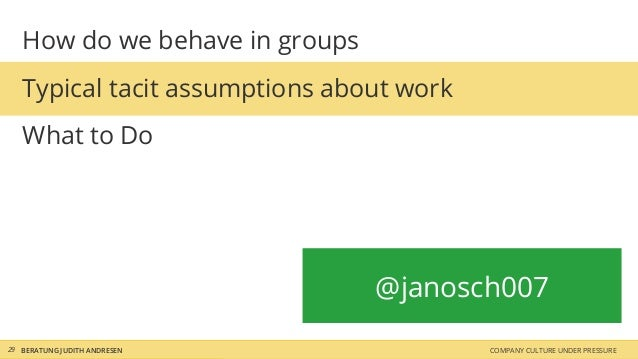 How do we behave in groups Typical tacit assumptions about work What to Do BERATUNG JUDITH ANDRESEN COMPANY CULTURE UNDER ...