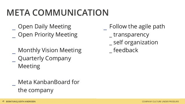 _ Follow the agile path _ transparency _ self organization _ feedback _ Open Daily Meeting _ Open Priority Meeting _ Month...