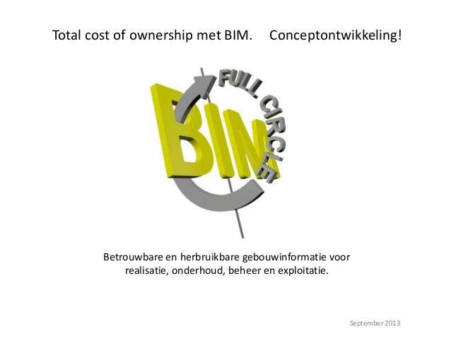 Betrouwbare en herbruikbare gebouwinformatie voor realisatie, onderhoud, beheer en exploitatie. September 2013 Total cost ...