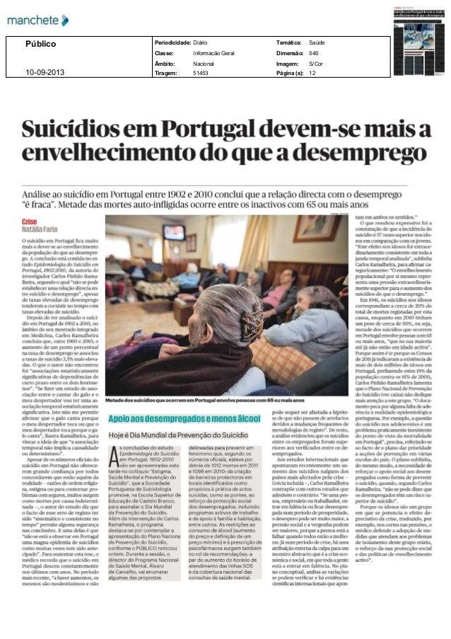Público 10092013  Periodicidade: Diário  Temática:  Saúde  Classe:  InformaçãoGeral  Dimensão:  646  Âmbito:  Nacional ...