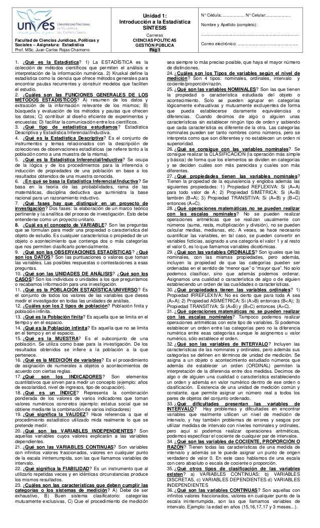 Facultad de Ciencias Jurídicas, Políticas y Sociales – Asignatura: Estadística Prof. MSc. Juan Carlos Rojas Chamorro Unida...
