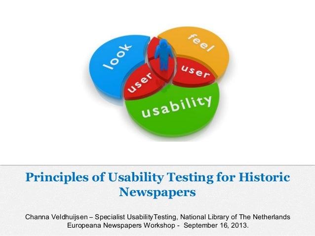 Channa Veldhuijsen – Specialist UsabilityTesting, National Library of The Netherlands Europeana Newspapers Workshop - Sept...