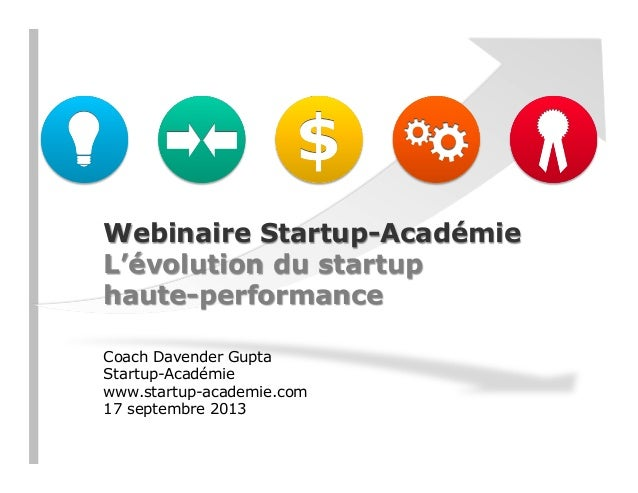 Webinaire Startup-Académie L'évolution du startup haute-performance Coach Davender Gupta Startup-Académie www.startup-acad...