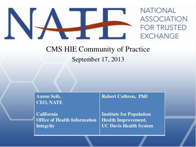 Aaron Seib, CEO, NATE California Office of Health Information Integrity Robert Cothren, PhD Institute for Population Healt...