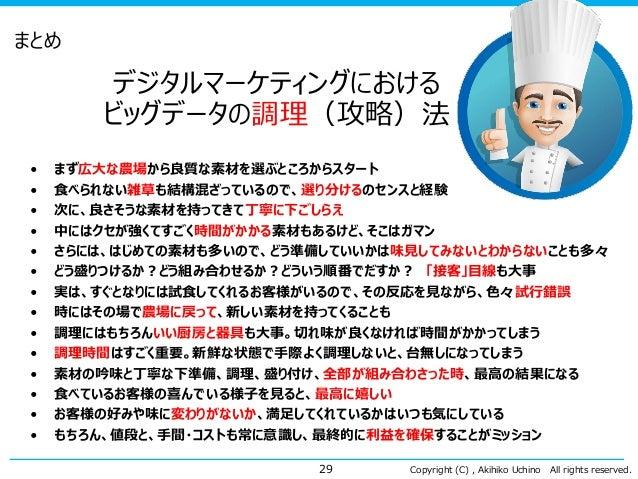 Copyright (C) , Akihiko Uchino All rights reserved. まとめ • まず広大な農場から良質な素材を選ぶところからスタート • 食べられない雑草も結構混ざっているので、選り分けるのセンスと経験 • ...