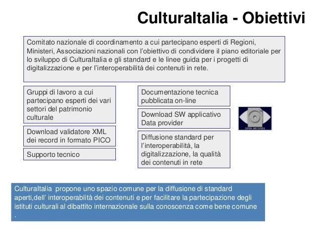 CulturaItalia Facilitare  CulturaItalia - Obiettivi Comitato nazionale di coordinamento a cui partecipano esperti di Regio...