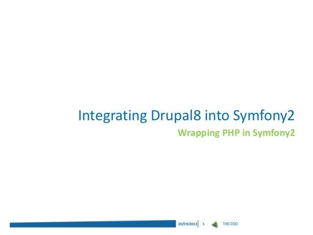 THEODO20/09/2013 1 Wrapping PHP in Symfony2 Integrating Drupal8 into Symfony2