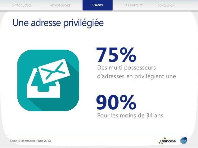 METHODOLOGIEINTRODUCTION LES MARQUESUSAGES CONCLUSION Salon E-commerce Paris 2013 Une adresse privilégiée 75%Des multi pos...