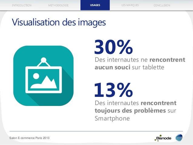 METHODOLOGIEINTRODUCTION LES MARQUESUSAGES CONCLUSION Salon E-commerce Paris 2013 Visualisation des images 30%Des internau...