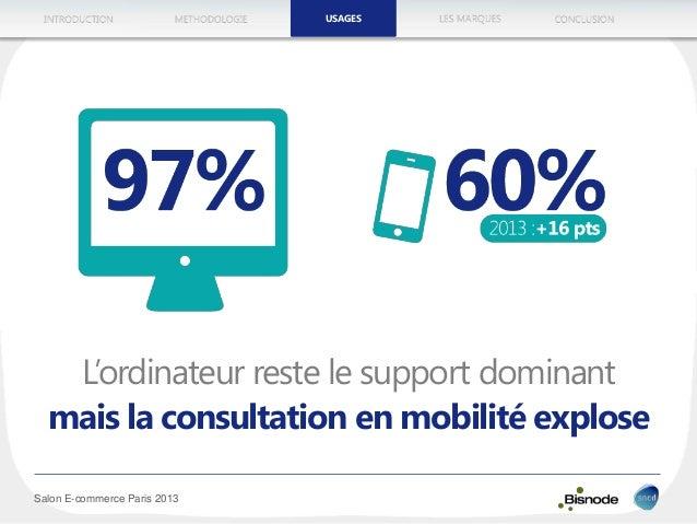 METHODOLOGIEINTRODUCTION LES MARQUESUSAGES CONCLUSION Salon E-commerce Paris 2013 L'ordinateur reste le support dominant m...