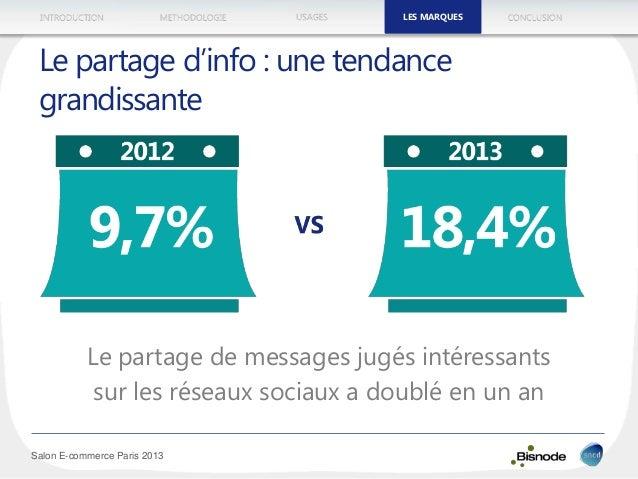 METHODOLOGIEINTRODUCTION LES MARQUESUSAGES CONCLUSION Salon E-commerce Paris 2013 Le partage d'info : une tendance grandis...