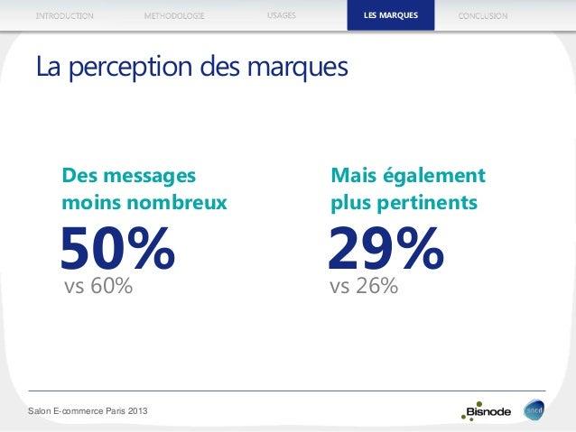 METHODOLOGIEINTRODUCTION LES MARQUESUSAGES CONCLUSION Salon E-commerce Paris 2013 La perception des marques vs 60% LES MAR...