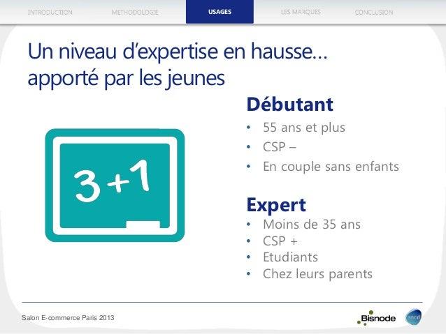 METHODOLOGIEINTRODUCTION LES MARQUESUSAGES CONCLUSION Salon E-commerce Paris 2013 Débutant • 55 ans et plus • CSP – • En c...