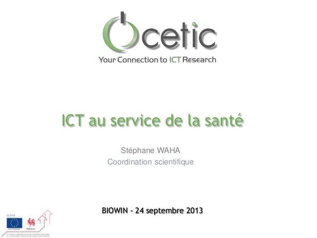 ICT au service de la santé Stéphane WAHA Coordination scientifique  BIOWIN - 24 septembre 2013
