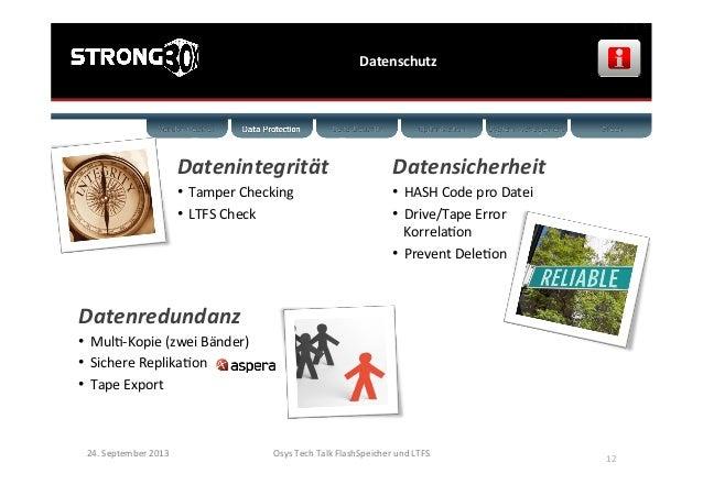 Datenschutz   24.  September  2013   Osys  Tech  Talk  FlashSpeicher  und  LTFS      12   Datenin...