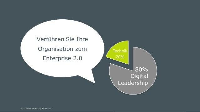 14 | 27 September 2013 | © doubleYUU Technik 20% 80% Digital Leadership Verführen Sie Ihre Organisation zum Enterprise 2.0