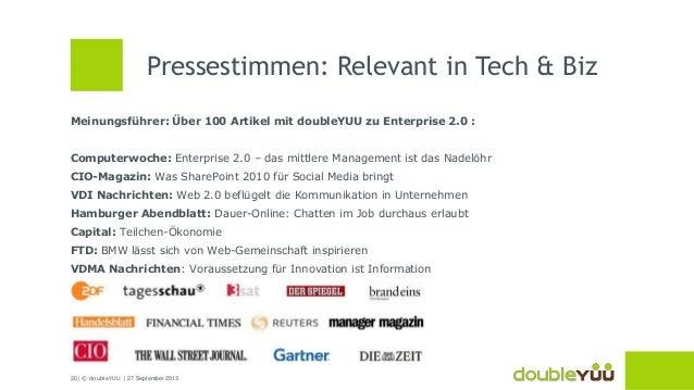20 | © doubleYUU | 27 September 2013 Meinungsführer: Über 100 Artikel mit doubleYUU zu Enterprise 2.0 : Computerwoche: Ent...