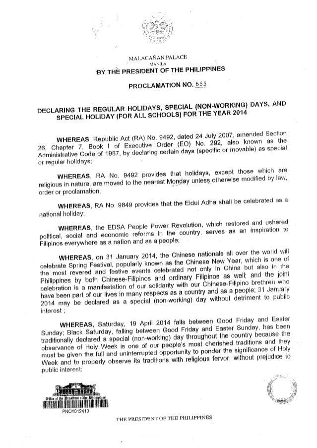 Proclamation on the 2014 Regular Holidays, Special (Non-Working) Holidays, and Special Days for Schools in the Philippines