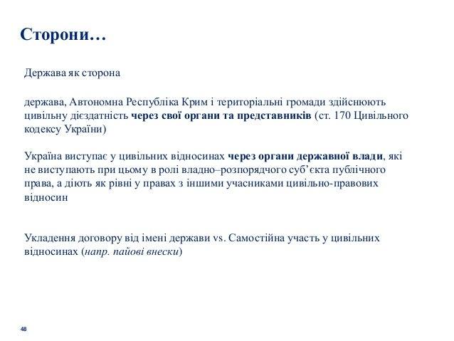 48 Сторони… Держава як сторона держава, Автономна Республіка Крим і територіальні громади здійснюють цивільну дієздатність...