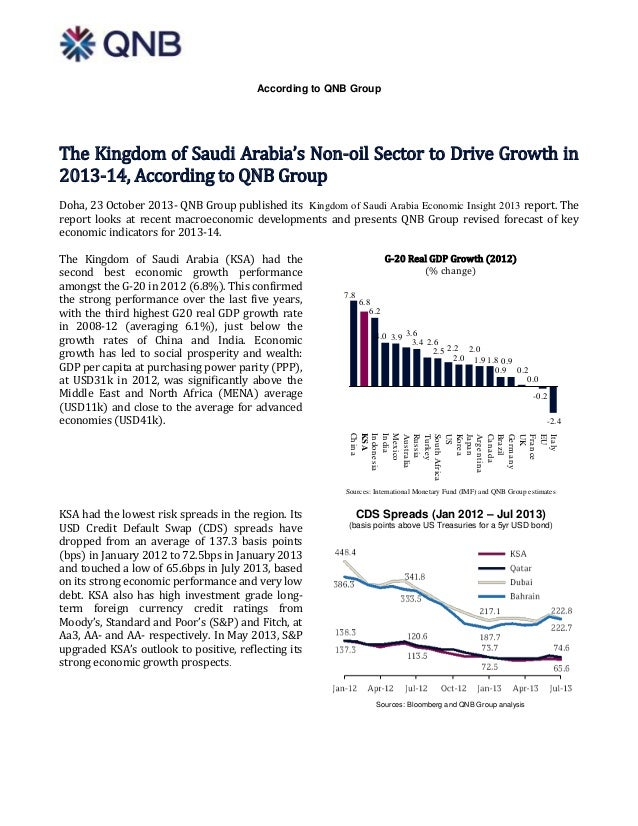 According to QNB Group  The Kingdom of Saudi Arabia's Non-oil Sector to Drive Growth in 2013-14, According to QNB Group Do...
