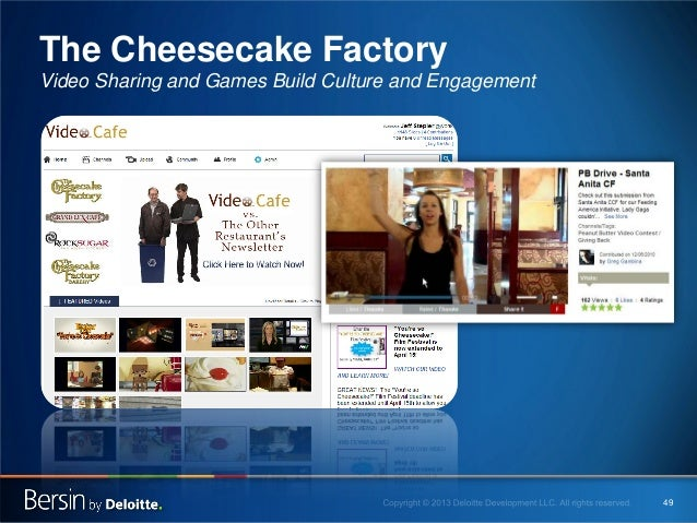 The Cheesecake Factory Video Sharing and Games Build Culture and Engagement  49
