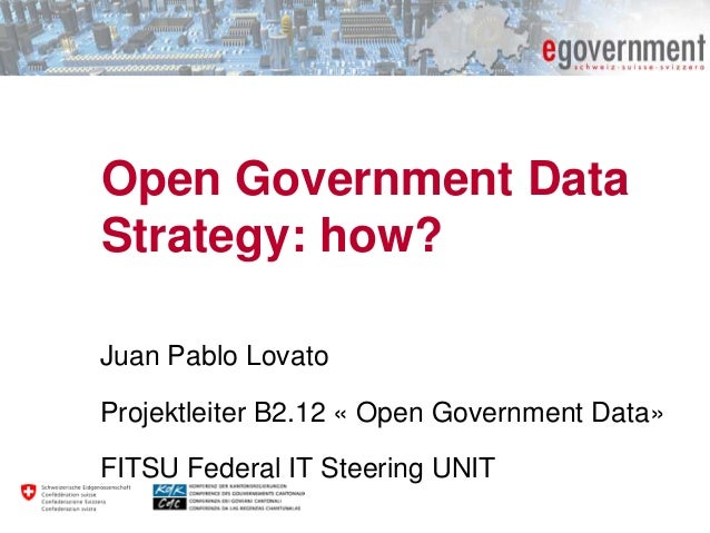 Open Government Data Strategy: how? Juan Pablo Lovato Projektleiter B2.12 « Open Government Data» FITSU Federal IT Steerin...