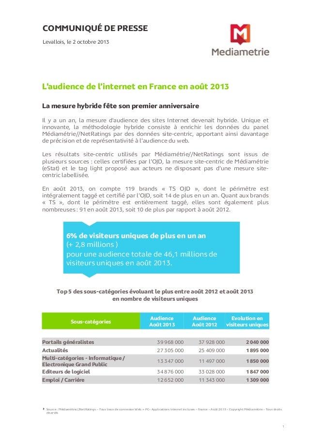 COMMUNIQUÉ DE PRESSE L'audience de l'internet en France en août 2013 La mesure hybride fête son premier anniversaire Leval...