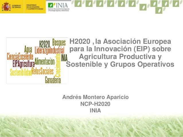 Andrés Montero Aparicio NCP-H2020 INIA H2020 ,la Asociación Europea para la Innovación (EIP) sobre Agricultura Productiva ...