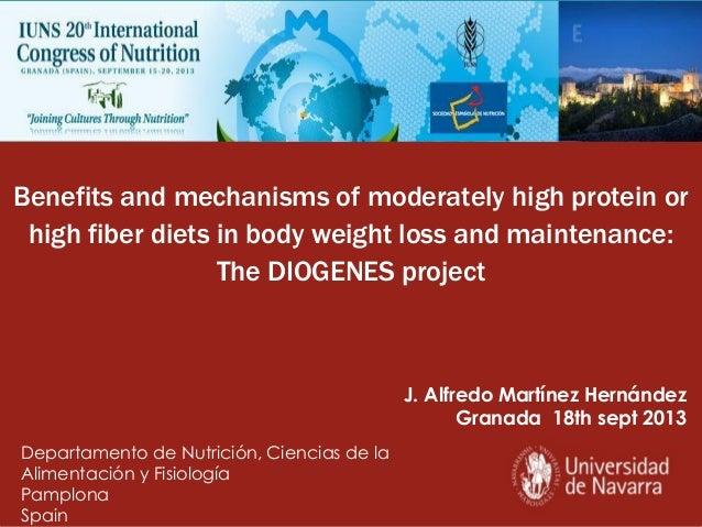 J. Alfredo Martínez Hernández Granada 18th sept 2013 Benefits and mechanisms of moderately high protein or high fiber diet...