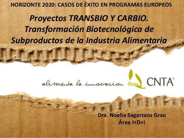 Dra. Noelia Sagarzazu Grau Área I+D+i HORIZONTE 2020: CASOS DE ÉXITO EN PROGRAMAS EUROPEOS Proyectos TRANSBIO Y CARBIO. Tr...