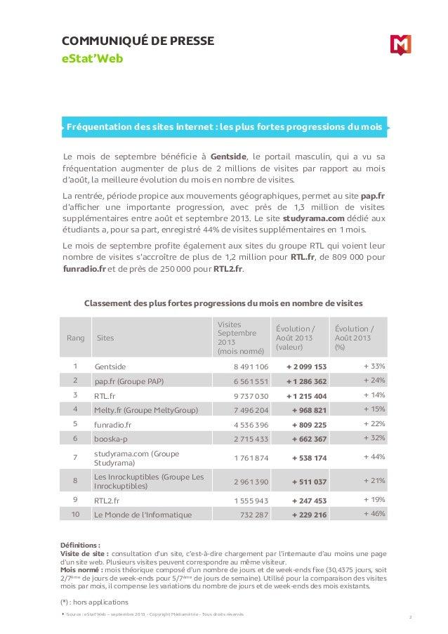 COMMUNIQUÉ DE PRESSE eStat'Web Le mois de septembre bénéficie à Gentside, le portail masculin, qui a vu sa fréquentation a...