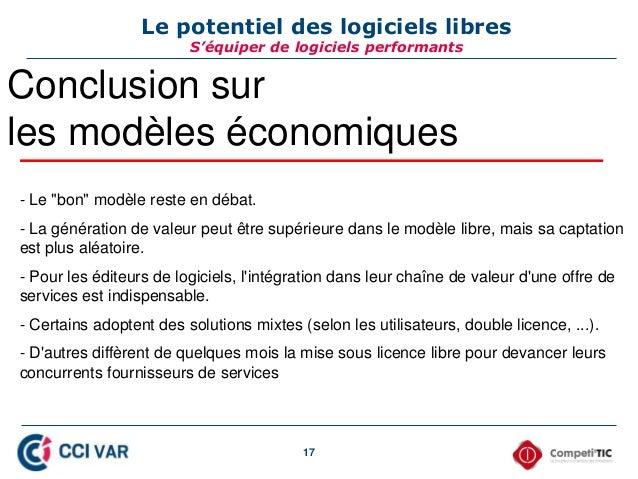 """17 Le potentiel des logiciels libres S'équiper de logiciels performants Conclusion sur les modèles économiques - Le """"bon"""" ..."""