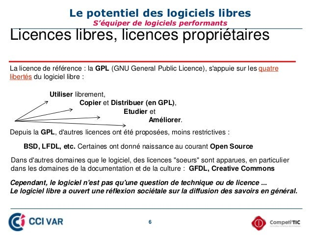 6 Licences libres, licences propriétaires La licence de référence : la GPL (GNU General Public Licence), s'appuie sur les ...