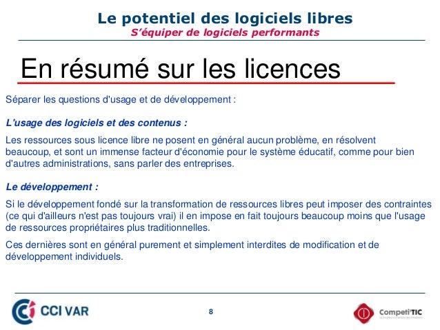 8 Le potentiel des logiciels libres S'équiper de logiciels performants En résumé sur les licences Séparer les questions d'...