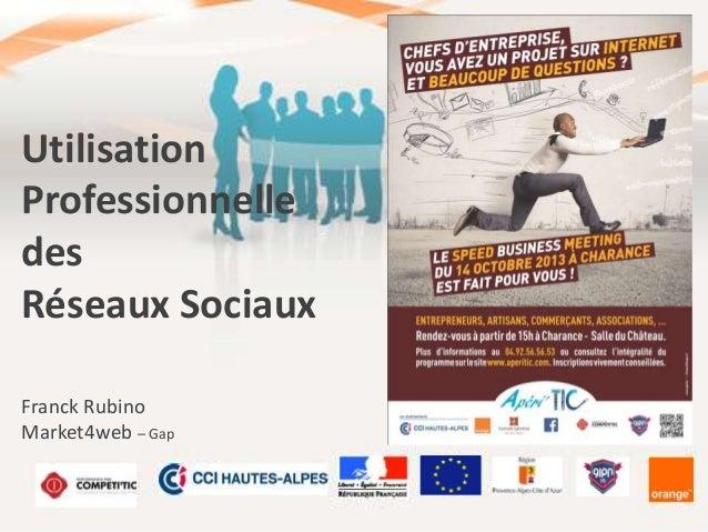 Utilisation Professionnelle des Réseaux Sociaux Franck Rubino Market4web – Gap