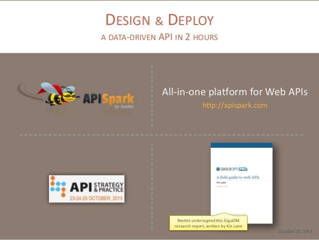 DESIGN & DEPLOY A DATA-DRIVEN API IN 2 HOURS  All-in-one platform for Web APIs http://apispark.com  Restlet undersigned th...